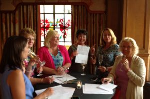 Susie Johns at Ladies Lunch explaining graphology